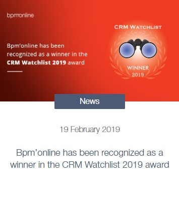 Bpm'online - Winner CRM Watch List 2019 - Webrixs
